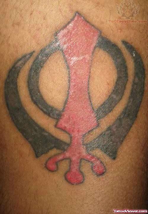 Red And Grey Nice Khanda Punjabi Tattoo