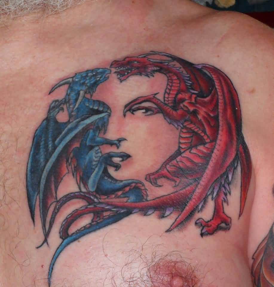 Red And blue Ink Dragons With Escher Girl Face Chest Tattoo