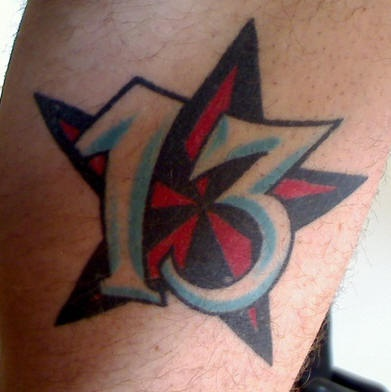 Red Army Star Thirteen Number Tattoo Design For Men