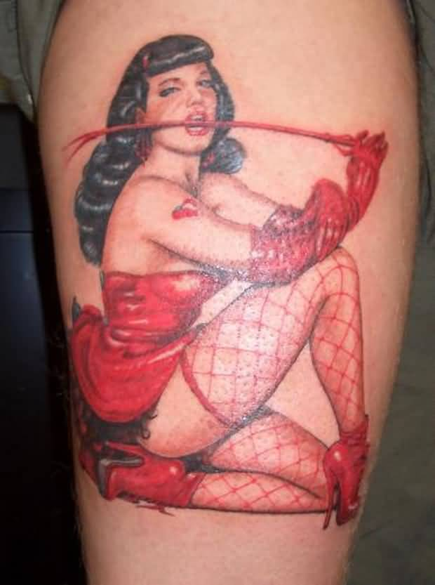 Red Clothes Hot Pin Up Girl Tattoo