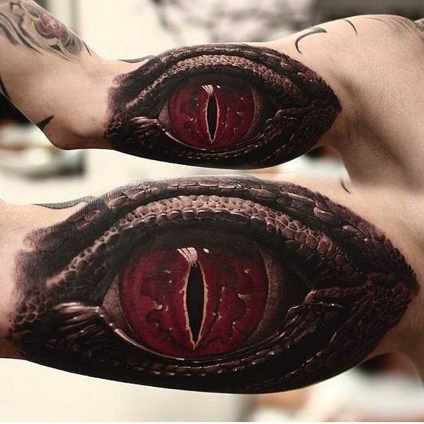 Red Dangerous Awesome And Great Reptile Snake Eye Tattoo