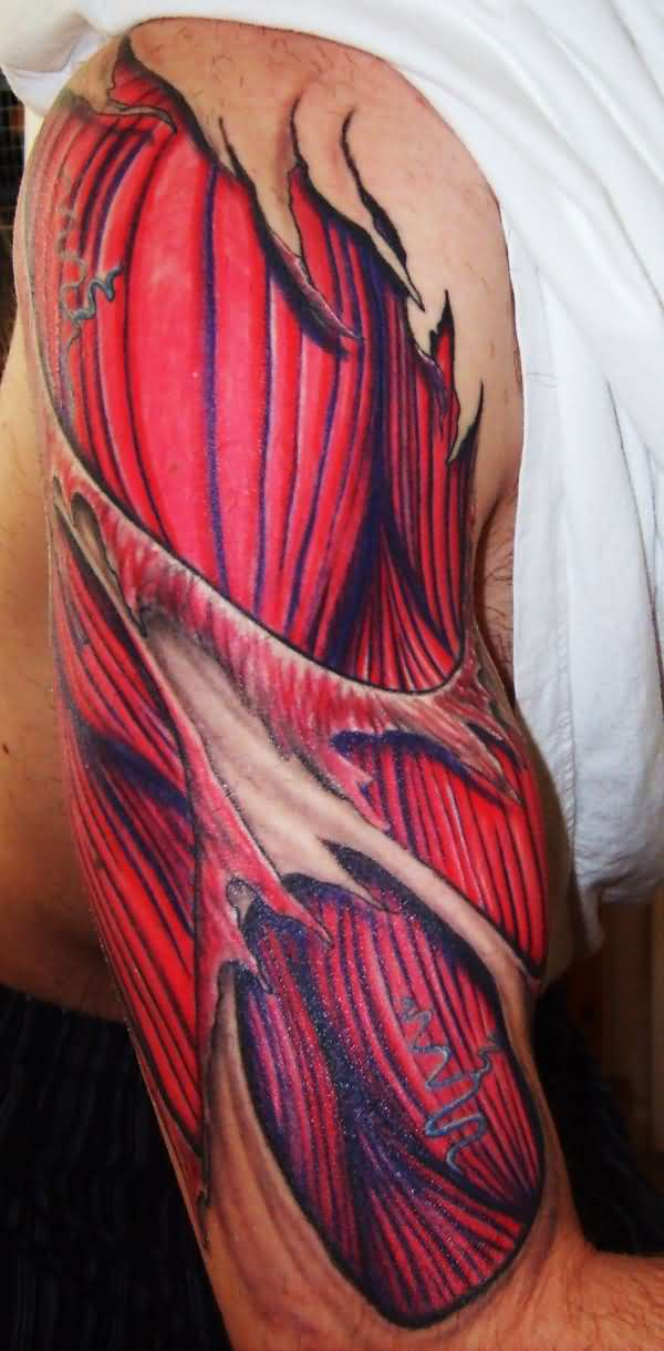 Red Dark Ink Muscles Tattoo Design For Upper Sleeve