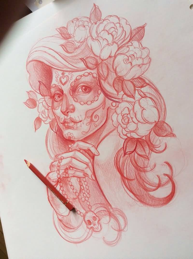 Red Ink Nice Catrina Girl With Flowers Tattoo