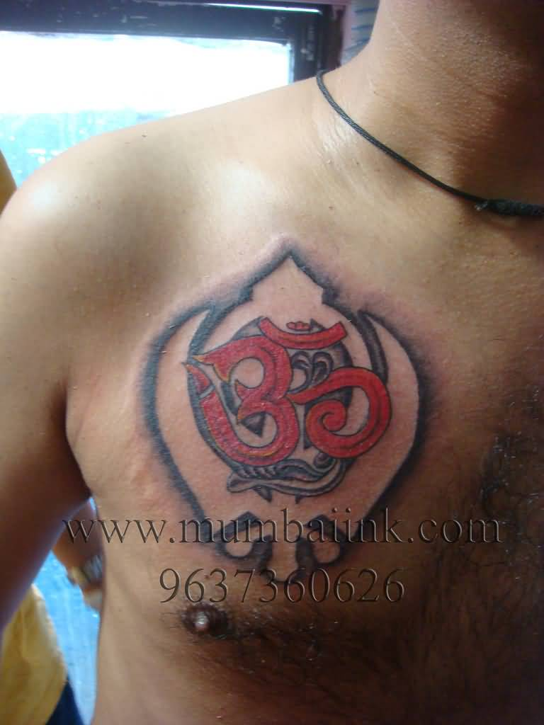 Red Ink Om Symbol In Punjabi Khanda Tattoo On Men Chest