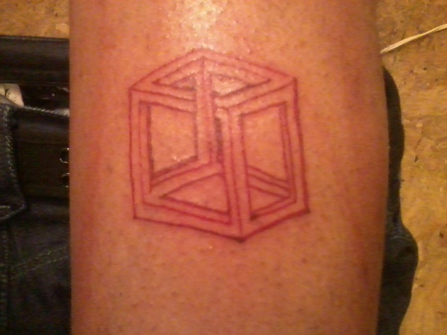 Red Ink Simple Escher Cube Tattoo