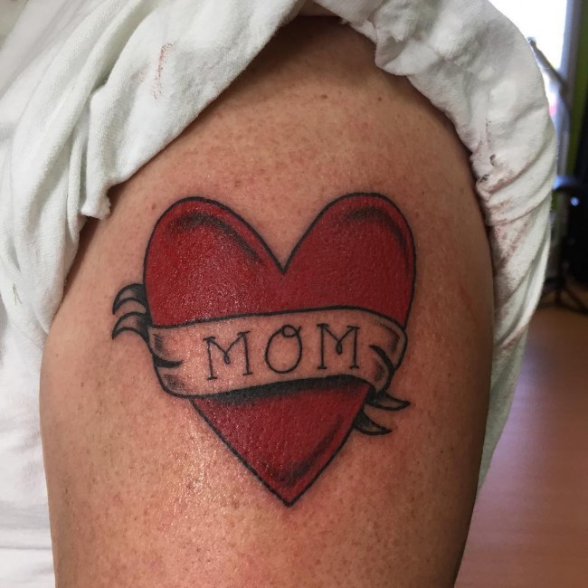 Red Love Heart Mom Banner Tattoo