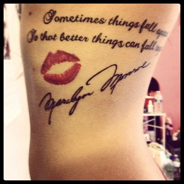 Red Nice Lips Amazing Marilyn Monroe Tattoo Of Black Ink Letters