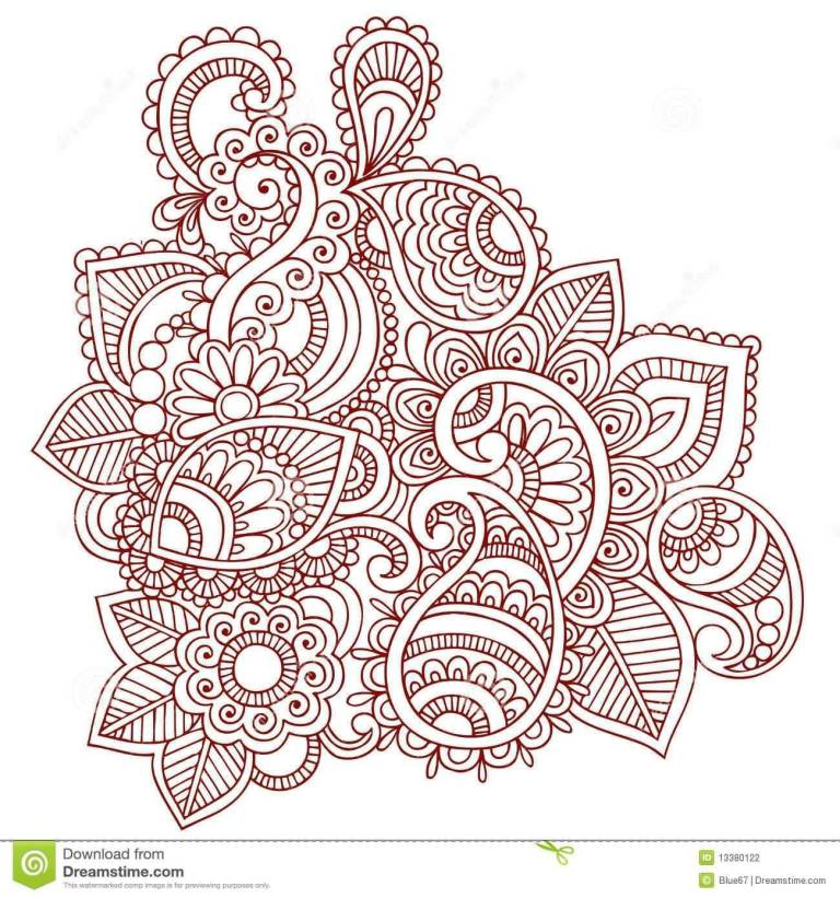 Red Nice Paisley Pattern Tattoo Sketch