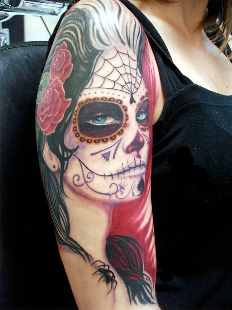 Red Nice Roses With Amazing Catrina Girl With Spider Tattoo For Girl