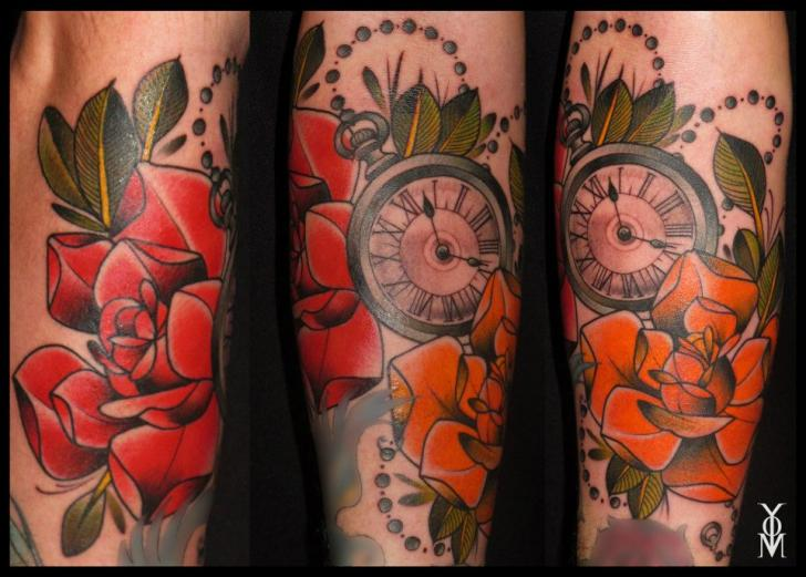 Red Nice Roses With Nice Old Clock Tattoo