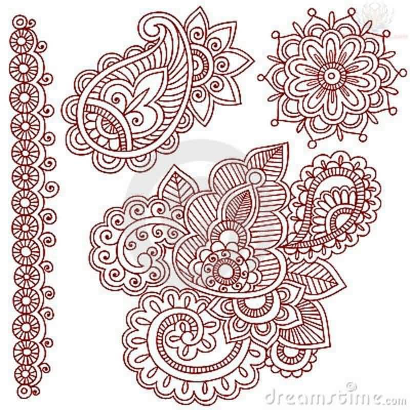 Red Paisley Pattern Tattoo Design