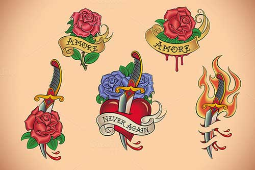 Red Rose In Daggers And Banner Roses Old School Tattoo