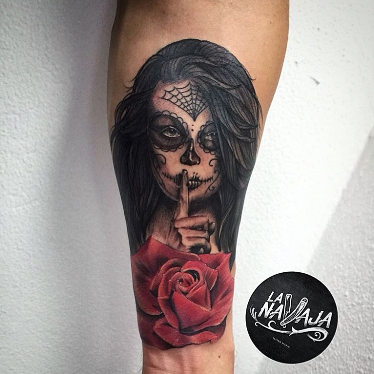 Red Rose Nice And Beautiful Flower Catrina Tattoo