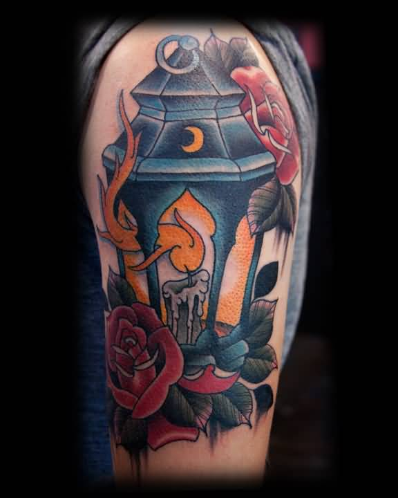 Red Rose Nice Lantern Lamp Tattoo On Half Sleeve