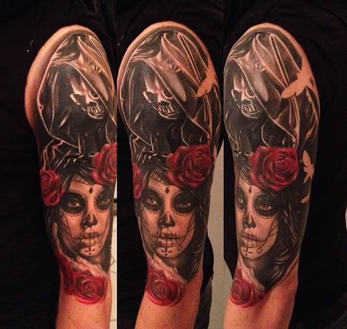 Red Rose With Nice Catrina Skull With Girl Face Tattoo On Half Sleeve