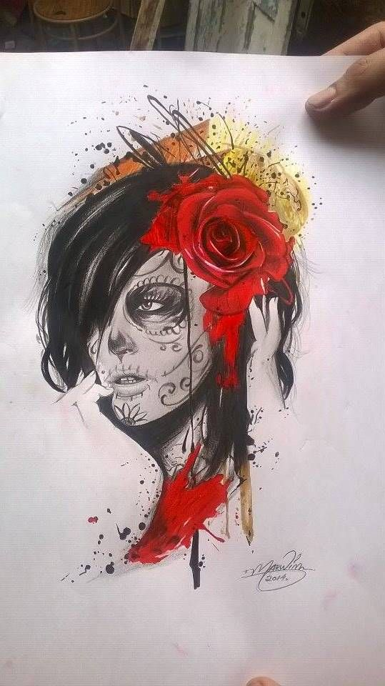 Red Rose With Nice Simple Catrina Face Tattoo Stencil
