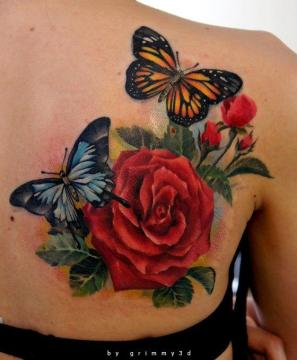 Red Roses And Nice Monarch Butterfly Tattoo Design On Girl Back Shoulder