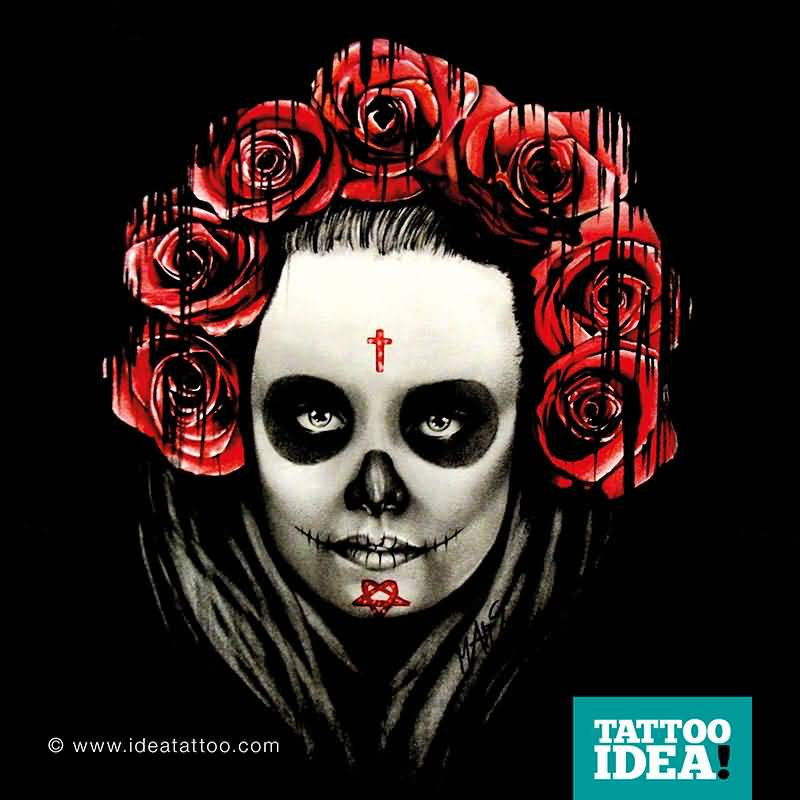 Red Roses With Catrina Girl Face Stencil Tattoo