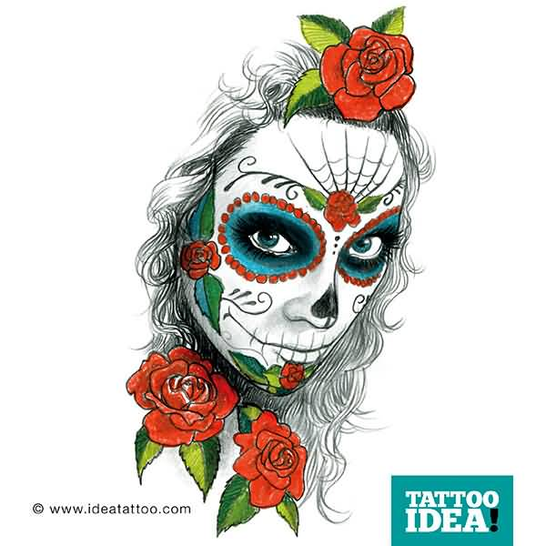 Red Roses With Nice Catrina Face Tattoo Design Idea On Paper