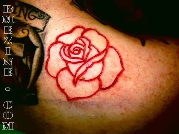 Red Scarification Rose Flower Tattoo Design Idea