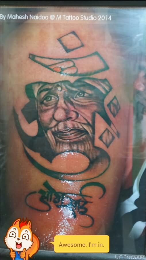 Religious Om Symbol Sai Baba God Face Tattoo