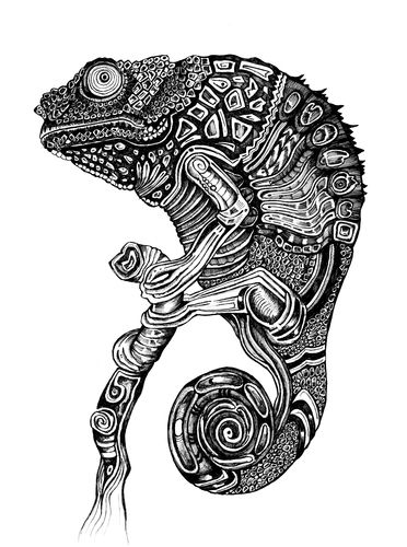 Reptile Lizard Hold Tree Tattoo Stencil