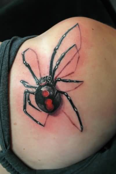 Right Back Shoulder 3D Black Widow Tattoo
