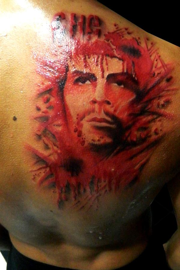 Right Back Shoulder Awesome Extreme Tattoo Of Men Face