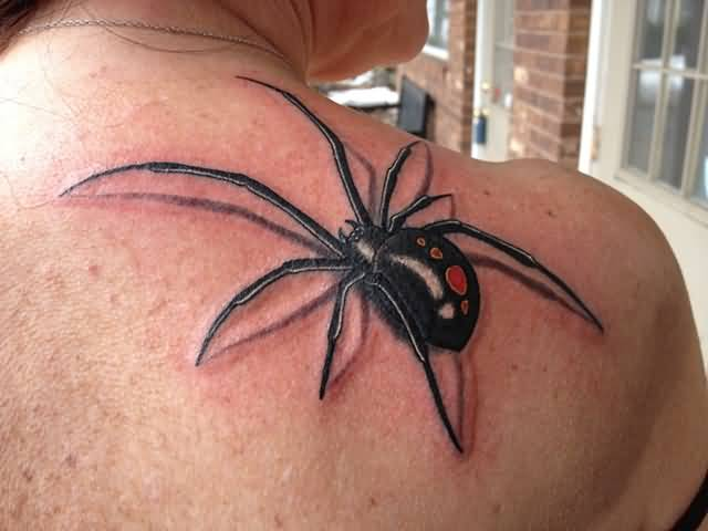 Right Back Shoulder Nice Black Widow Spider Tattoo For Girl