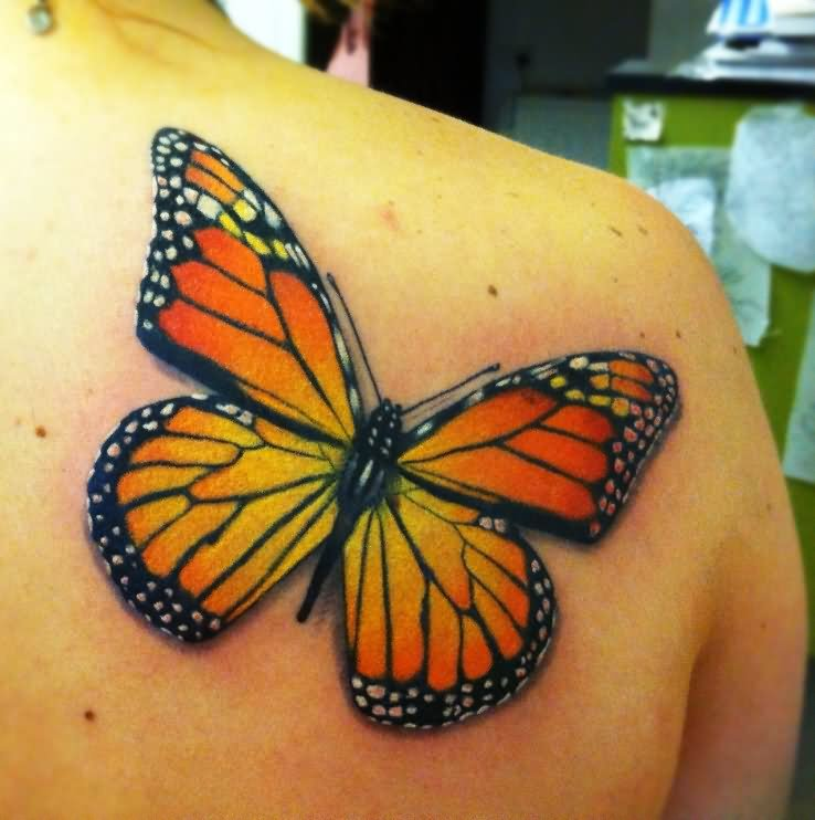 Right Back Shoulder Nice Monarch Butterfly Tattoo