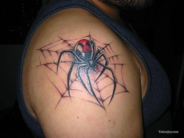 Right Shoulder Cover Up With Nice Black Widow With Spider Web Tattoo For Men