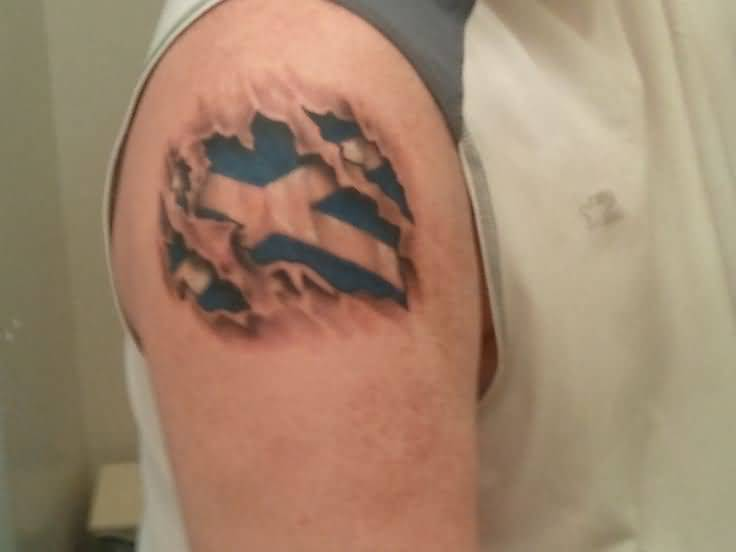 Right Shoulder Ultimate Ripped Skin Scotland Flag Tattoo