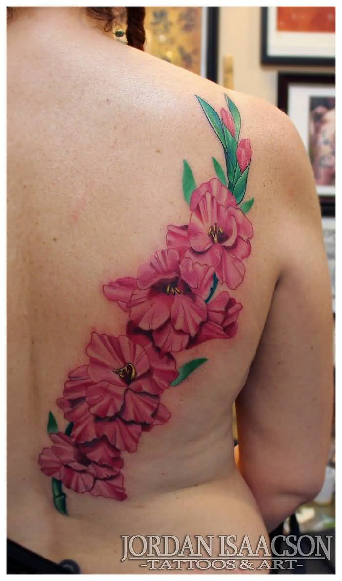 Right Side Full Back Awesome Beautiful Pink Gladiolus Flower Tattoo For Girl