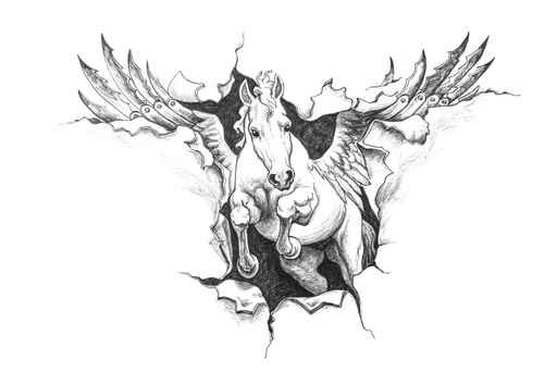 Ripped Paper Pegasus Tattoo Design Stencil