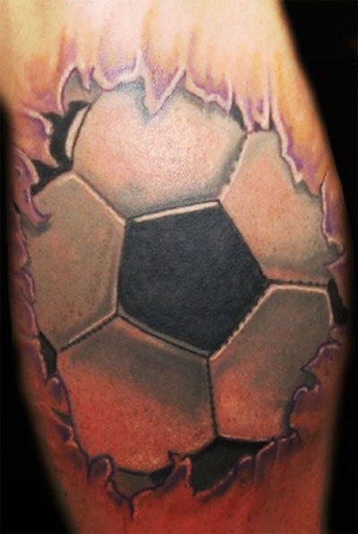 Ripped Skin 3D Football Tattoo