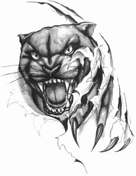 Ripped Skin Amazing Roaring Puma Face Tattoo Design