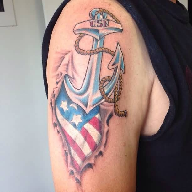 Ripped Skin America Flag With Navy Anchor Tattoo On Right Shoulder