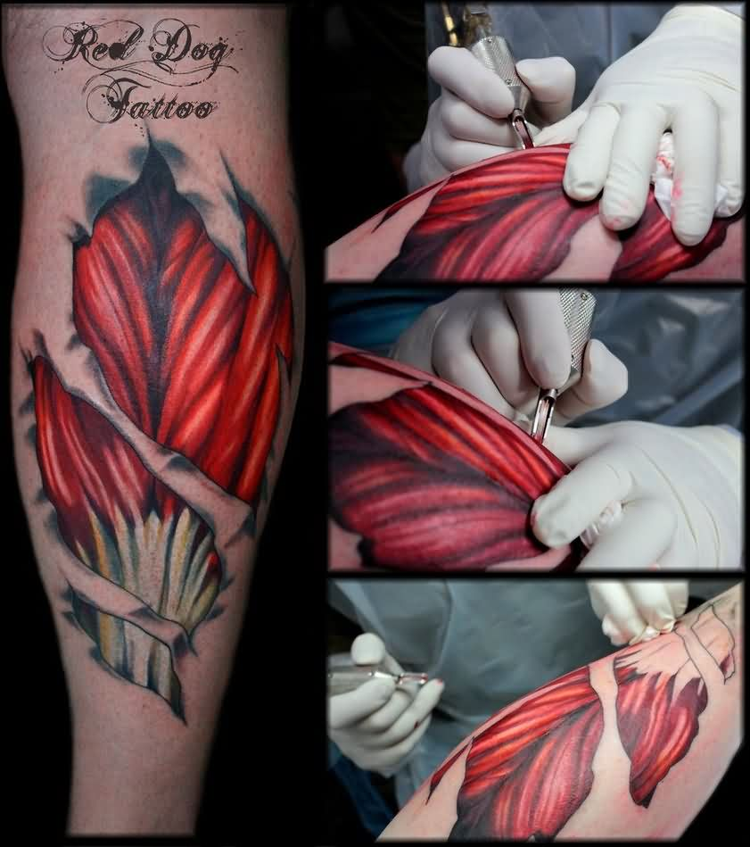 Ripped Skin Awesome 3d Muscles Tattoo Design Idea On Leg Back