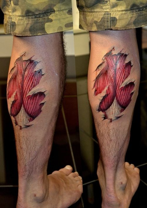 Ripped Skin Awesome 3d Muscles Tattoo Design Idea