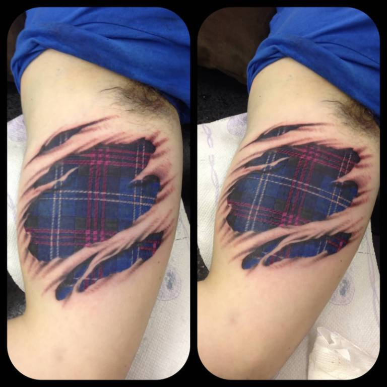 Ripped Skin Awesome And Realistic Scottish Tartan Tattoo
