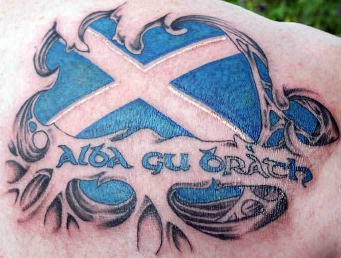 Ripped Skin Awesome Scottish Flag Tattoo Design For Upper Back
