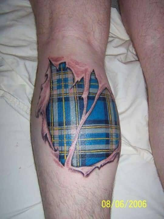 Ripped Skin Awesome Scottish Tartan Tattoo On Leg Back