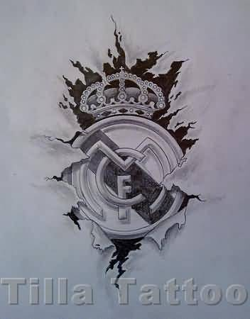 Ripped Skin Awesome Stencil Of Real Madrid Logo Tattoo