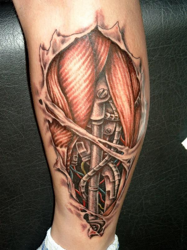 Ripped Skin Biomechanical Muscles Tattoo Design Idea For Leg