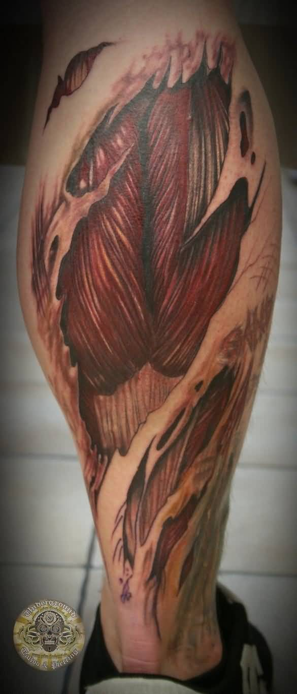 Ripped Skin Outstanding Muscles Tattoo Design Idea