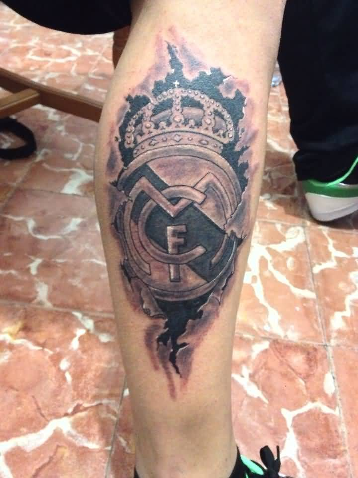Ripped Skin Outstanding Real Madrid 3D Tattoo On Side Of Leg