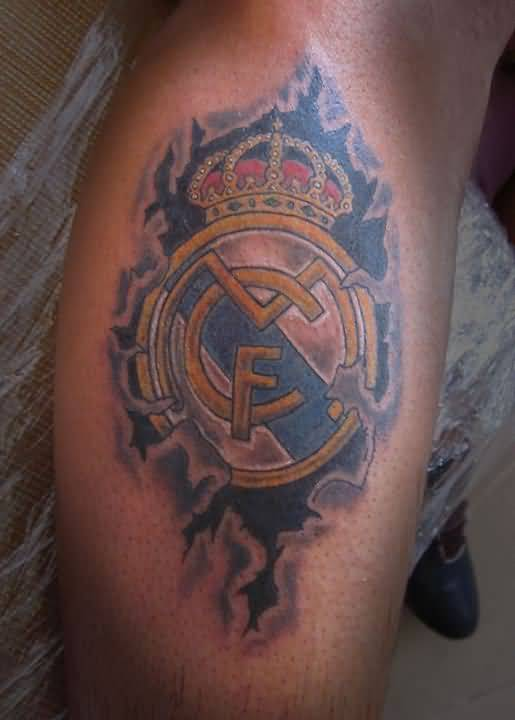 Ripped Skin Outstanding Real Madrid Logo Tattoo Design