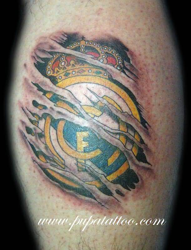 Ripped Skin Realistic 3D Real Madrid Logo Tattoo