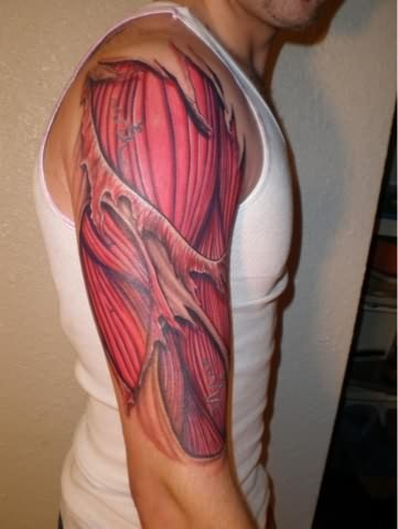 Ripped Skin Realistic Muscles Tattoo On Half Sleeve