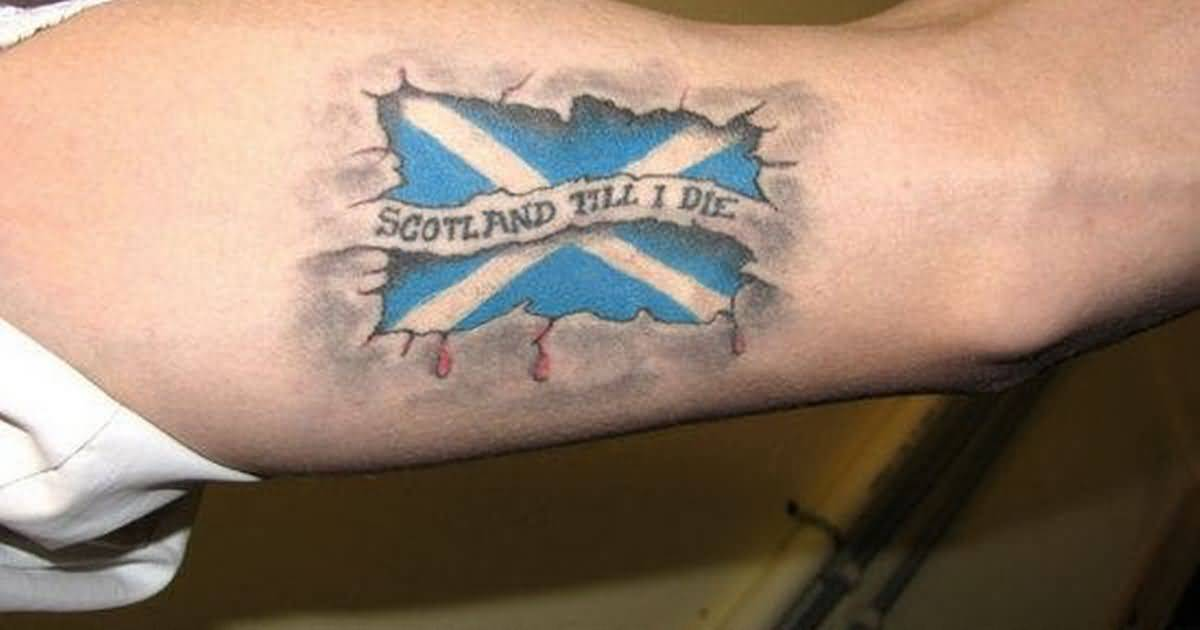 Ripped Skin Small Scottish Portrait Flag And Letters Tattoo